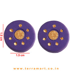 Violet & Gold Colour Painted Cute Handmade Terracotta Earrings