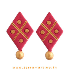 Nice-looking Pink & Gold Colour Handmade Terracotta Earrings