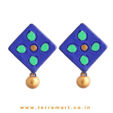 Marvellous Navyblue, Green & Gold Colour Handmade Terracotta Earrings - Terramart Jewellery