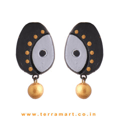Pretty Black, Gray & Gold Colour Handmade Terracotta Earrings - Terramart Jewellery