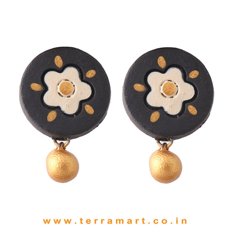 Graceful Black, Sandal & Gold Colour Handmade Terracotta Earrings - Terramart Jewellery