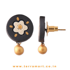 Graceful Black, Sandal & Gold Colour Handmade Terracotta Earrings