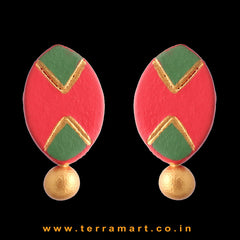 Good-looking Red, Sapgreen & Gold Colour Handmade Terracotta Earrings - Terramart Jewellery