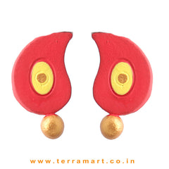 Finely Painted Red, Yellow & Gold Colour Handmade Terracotta Earrings - Terramart Jewellery