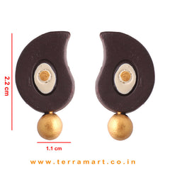 Finely Painted Brown, Sandal & Gold Colour Handmade Terracotta Earrings - Terramart Jewellery