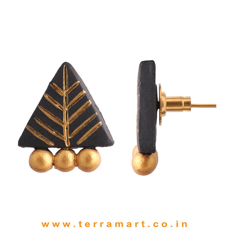 Amazing Black & Gold colour Handmade Terracotta Earrings