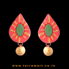 Elegant Red, Sapgreen & Gold Colour Handmade Terracotta Earrings