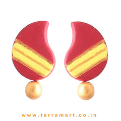 Creativly Painted Maroon, Yellow & Gold Colour Handmade Terracotta Earrings - Terramart Jewellery