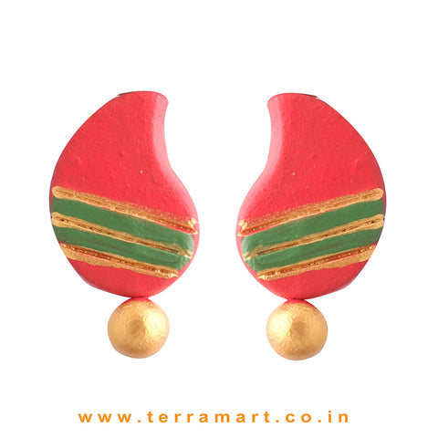 Creativly Painted Red, Sap Green & Gold Colour Handmade Terracotta Earrings - Terramart Jewellery