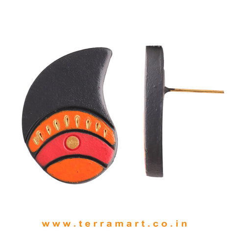 Mango Designed Black, Orange, Red & Gold Colour Handmade Terracotta Earrings - Terramart Jewellery