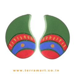 Mango Designed SapGreen, Red, Blue & Gold Colour Handmade Terracotta Earrings - Terramart Jewellery