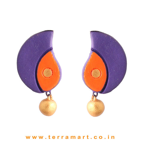 Mango Designed Violet, Orange & Gold Colour Painted Handmade Terracotta Earrings - Terramart Jewellery
