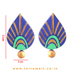 Dainty Navy Blue, Parrot Green & Gold colour Handmade Terracotta Earrings - Terramart Jewellery