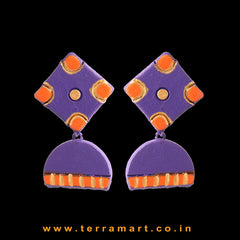 Pleasant Violet, Orange & Gold Colour Handmade Terracotta Earrings - Terramart Jewellery