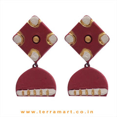 Pleasant Maroon, Sandal & Gold Colour Handmade Terracotta Earrings - Terramart Jewellery
