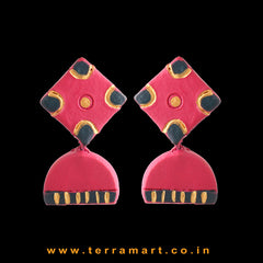 Pleasant Pink, Dark Green & Gold Colour Handmade Terracotta Earrings