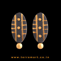 Lovely Black & Gold Colour Handmade Terracotta Earrings