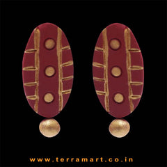 Lovely Maroon & Gold Colour Handmade Terracotta Earrings - Terramart Jewellery