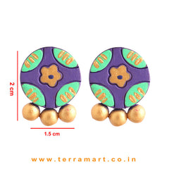 Exquisite Violet, Parrot Green & Gold Colour Handmade Terracotta Earrings - Terramart Jewellery