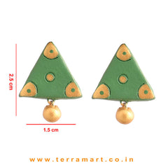 Fantastic Sap green & Gold Colour Handmade Terracotta Earrings - Terramart Jewellery