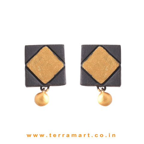 Black & Gold Colour Painted Beautiful Handmade Terracotta Earrings