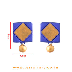 NavyBlue & Gold colour Painted Beautiful Handmade Terracotta Earrings - Terramart Jewellery