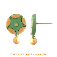 Ethnic Sap Green & Gold Colour Handmade Terracotta Earrings - Terramart Jewellery