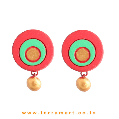 Good looking Red, Parrot Green & Gold Colour Handmade Terracotta Earrings - Terramart Jewellery