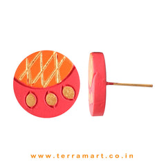 Red, Orange & Gold Colour Painted Fantastic Handmade Terracotta Earrings - Terramart Jewellery
