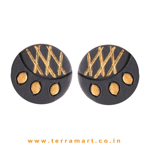 Black & Gold Colour Painted Fantastic Handmade Terracotta Earrings