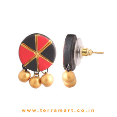 impressive Black, Red & Gold colour Handmade Terracotta Earrings
