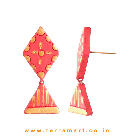 Attractive Pink & Gold colour Handmade Terracotta Earrings
