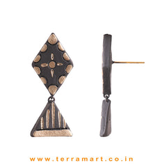 Attractive Black & Bronze colour Handmade Terracotta Earrings