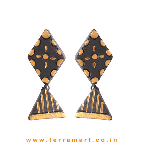 Attractive Black & Gold colour Handmade Terracotta Earrings