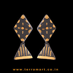 Attractive Black & Gold colour Handmade Terracotta Earrings - Terramart Jewellery