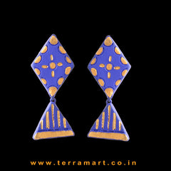 Attractive Navy Blue & Gold colour Handmade Terracotta Earrings