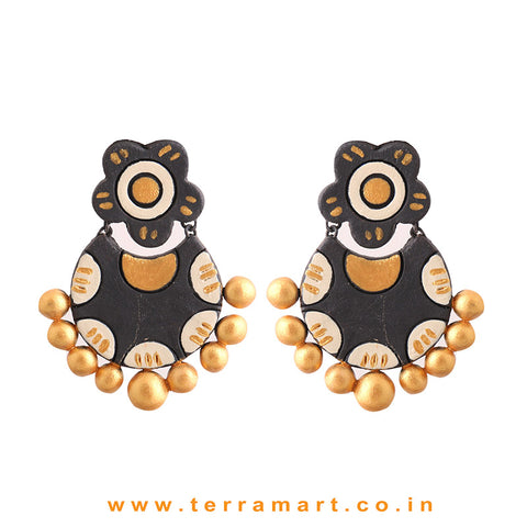 Charming Black, Sandal & Gold Colour Handmade Terracotta Earrings