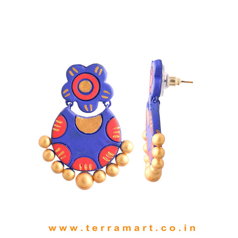 Charming Navy Blue, Red & Gold Colour Handmade Terracotta Earrings