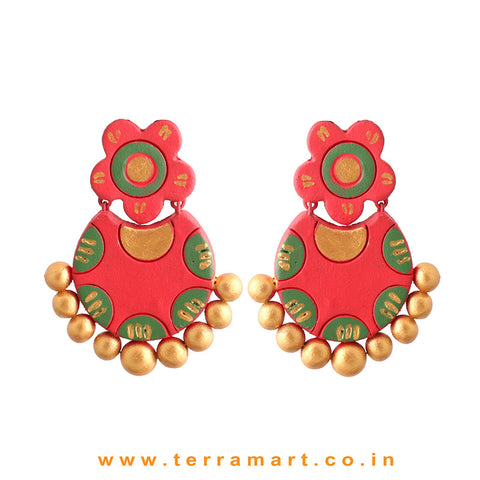 Charming Red, Sap Green & Gold Colour Handmade Terracotta Earrings