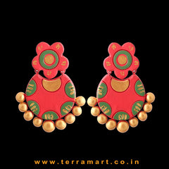 Charming Red, Sap Green & Gold Colour Handmade Terracotta Earrings - Terramart Jewellery