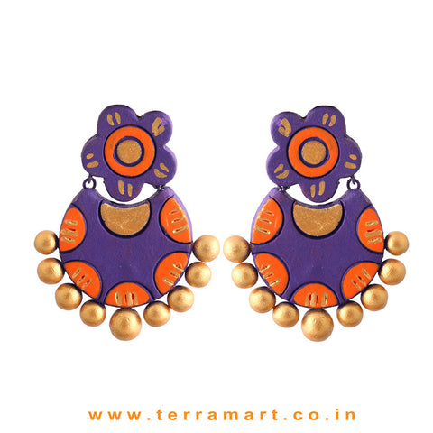 Charming Violet, Orange & Gold Colour Handmade Terracotta Earrings