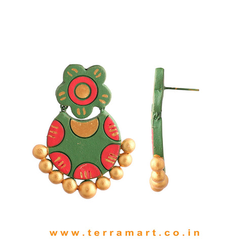 Charming Sap Green, Red & Gold Colour Handmade Terracotta Earrings