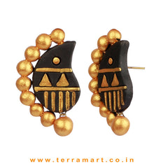 Partywear Black & Gold colour Handmade Terracotta Earrings - Terramart Jewellery