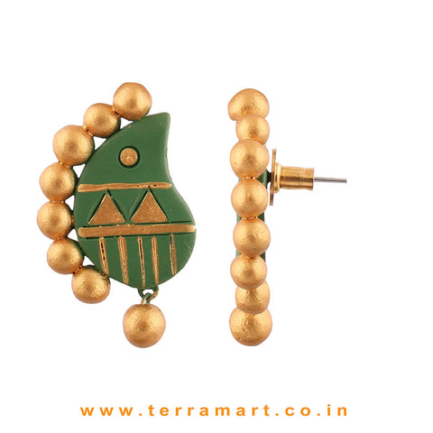 Partywear Sap Green & Gold colour Handmade Terracotta Earrings - Terramart Jewellery
