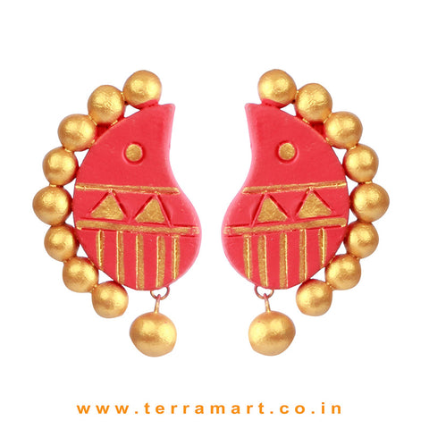 Partywear Pink & Gold colour Handmade Terracotta Earrings - Terramart Jewellery
