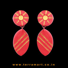 Red & Gold & Gold Colour Painted Delightful Handmade Terracotta Earrings  - Terramart Jewellery