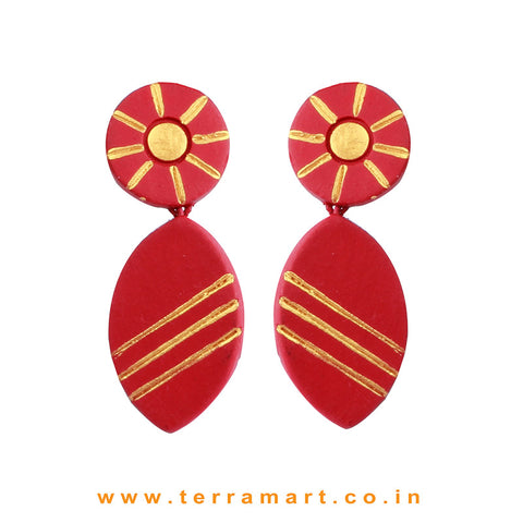 Maroon & Gold Colour Painted Delightful Handmade Terracotta Earrings  - Terramart Jewellery