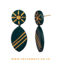 Dark Green & Gold Colour Painted Delightful Handmade Terracotta Earrings  - Terramart Jewellery