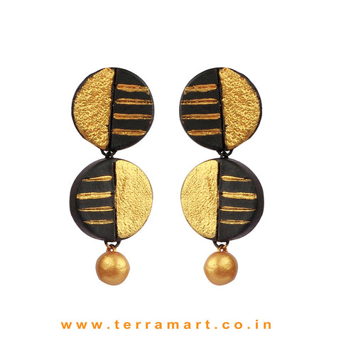 Captivating Black & Gold colour Painted Handmade Terracotta Earrings