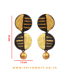 Captivating Black & Gold colour Painted Handmade Terracotta Earrings  - Terramart Jewellery